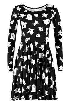 Hillary Halloween Ghost Print Skater Dress
