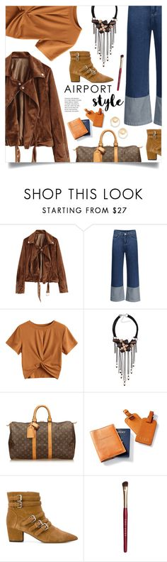 """Wanderlust Wonderful: Airport Style"" by mahafromkailash ❤ liked on Polyvore featuring Louis Vuitton, Frontgate, Tabitha Simmons, Bobbi Brown Cosmetics, Madewell, chic, Trendy, motojacket, airportstyle and flareddenim"