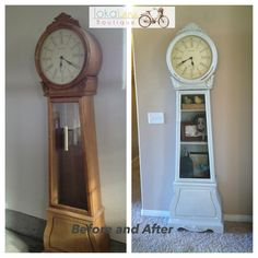 Before and After Grandfather clock. The pendulum was missing so I added shelves instead of replacing it. Painted with homemade chalk paint. 1/4 cup baking soda mixed with 1 cup latex paint.
