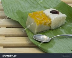 Sticky Rice With Steamed Custard, Wrapped In Banana Leaves, Traditional Thai…