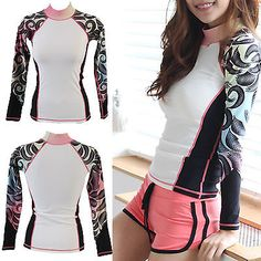 Women Rashguard Swim Shirt surfingwear Sun Clothes workout UV Protection ifnayo in Sporting Goods, Water Sports, Wetsuits & Drysuits | eBay
