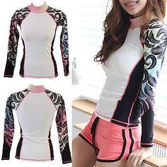Women Rashguard Swim Shirt surfingwear Sun Clothes workout UV Protection ifnayo in Sporting Goods, Water Sports, Wetsuits & Drysuits | eBay