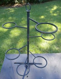 Mid-Century Moveable 6 Pots Wrought Iron Plant Holder #Unknown