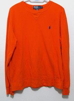 Polo Ralph Lauren Mens Sweatshirt Large Orange Pullover Size L #PoloRalphLauren #SweatshirtCrew