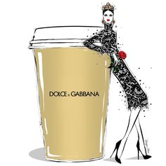 "Megan Hess illustration: ""Italians do it better. Imagine a giant GOLD cup of DOLCE & GABBANA Coffee!! Tastes even better whilst wearing a D&G crown. Happy Monday everyone!"""