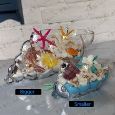 Fashion Maritime Glass Conch Model Sculpture Craft Embellishment Accessories for Holder of Sundries, Flowers and Home Decoration