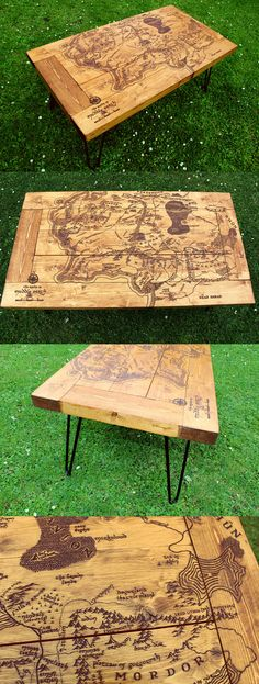 Lord of the Rings Tolkien Middle Earth Map Handmade Pallet Coffee Table Wood Burned Pyrography LOTR Map Wood Table Home Wedding Gift Hairpin