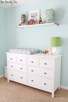 What's the difference between IKEA white and white stain? I lay it all out in this informative post featuring the IKEA Hemnes dresser. Ikea Baby Nursery, Baby Nursery Themes, Baby Boy Rooms, Baby Boy Nurseries, Girl Nursery, White Dresser Nursery, Nursery Ideas, Ikea Nursery Furniture, Newborn Nursery