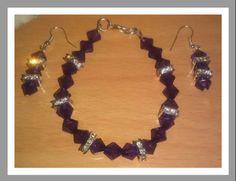 Purple crystal set Purple Sparkle, Jewelry Sets, Drop Earrings, Crystals, Bracelets, Drop Earring, Crystal, Bracelet, Crystals Minerals