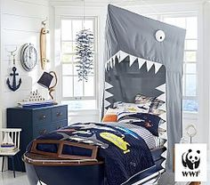 Such a creative kids room design. Bed is a boat & bed curtains is a shark. Ten points for this idea! Shark Bedroom, Kids Bedroom, Basement Bedrooms, Master Bedroom, Small Bedrooms, Trendy Bedroom, Nursery Room, Bedroom Themes, Bedroom Decor