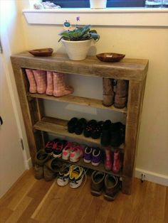 Reclaimed Palletwood Shoe Rack By Valhallawoodworks On Etsy
