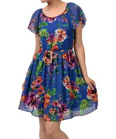 Potter's Pot Blue & Orange Floral Angel-Sleeve A-Line Dress by Potter's Pot #zulily #zulilyfinds