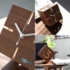 table clock table clock PUZZLE STAND TYPE M puzzles stand type M Walnut plywood cubes chic wooden clocks * ordered goods Clock Art, Diy Clock, Diy Wood Projects, Wood Crafts, Cnc, Walnut Plywood, Cool Clocks, Wooden Clock, Wood Boxes