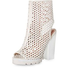 Jeffrey Campbell Chella Perforated Boots ($200) ❤ liked on Polyvore featuring shoes, boots, ankle booties, cream, lace-up ankle booties, low heel peep toe booties, peep-toe boots, lace up booties et lace up peep toe booties
