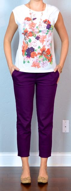 outfit post: floral top, purple cropped pants, cutout flats