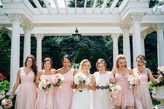 Bridesmaids each wear different blush pink dresses | Romantic Mansion Wedding at Patrick C. Haley Mansion, Southwest Chicago | Photographer: Traci & Troy