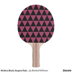 Modern Black, Sangria Pink Geometric Triangles Ping-Pong Paddle by M to the Fifth Power Ping Pong Table Tennis, Ping Pong Paddles, Triangles, Purple, Pink, Sangria, Modern, Lavender, Black