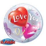Balloon:  22'' I Love You Valentines Balloon Bubble (each)