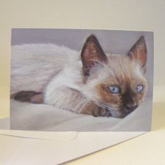 Small cat notecards  siamese cat design by pastelesta on Etsy, £6.00