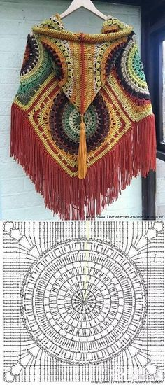 Crochet Granny Square Poncho Beautiful New Ideas Poncho Crochet, Crochet Motifs, Crochet Mandala, Crochet Diagram, Crochet Squares, Crochet Chart, Crochet Granny, Crochet Stitches, Granny Squares