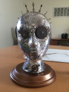 Steampunk head with Ranger Metal Foil Tape Jewelry Store Displays, Styrofoam Head, Steampunk Artwork, Head Planters, Wig Stand, Skull Mask, Mannequin Heads, Fake People, Metal Shop