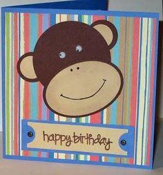 Kids birthday card Monkey