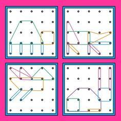 Geoboards Animals Task Cards by My Happy Place Math Classroom, Kindergarten Math, Preschool Activities, Visual Perceptual Activities, Stem Activities, Math For Kids, Fun Math, Geo Board, Early Years Maths