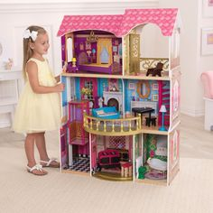 KidKraft Belmont Manor Dollhouse - 65856 - The KidKraft Belmont Manor Dollhouse will delight any child! Constructed of wood with plastic pieces, all intricately painted and designed, this dollh...
