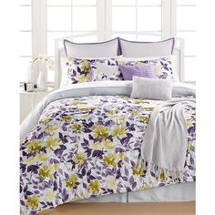 Spring Garden 14-Pc. King Comforter Set ($200) ❤ liked on Polyvore featuring home, bed & bath, bedding, comforters, purple, floral bedding, purple king comforter, purple king size comforter set, purple king comforter sets and king size comforters