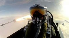 Best selfie ever. RDAF (Royal Danish Air Force) pilot in an F-16, Fighting Falcon!