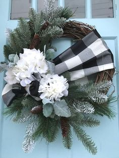 Black and White buffalo Plaid Ribbon with Pine on Grapevine Winter Wreath for Front Door. wreaths for front door, farmhouse, Christmas, by DesignsbyDebbyOhio on Etsy Christmas Wreaths To Make, Christmas Diy, Christmas Decorations, Holiday Decor, Winter Wreaths, Rustic Christmas, Holiday Ideas, Front Door Decor, Wreaths For Front Door