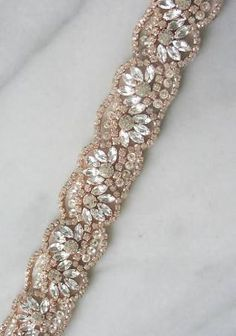 Items similar to Rose Gold Swarovski Crystal Trim, Rose Gold Swarovski Rhinestone Beaded Trim, Rose Gold Bridal Applique for Wedding Gown or Sash, on Etsy Embroidery On Clothes, Beaded Embroidery, Gold Bridesmaid Dresses, Bridesmaid Belt, Wedding Belts, Wedding Stuff, Bijoux Diy, Beaded Trim, Bridal Jewelry