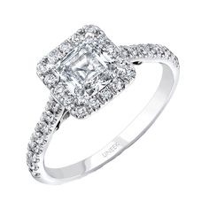 Product Type: Engagement Ring Gender: Ladies Metal (As Pictured): 14K White Gold Center Size (As Pictured): 1 Carat Center Shape (As Pictured): Princess Side Stone Count: 34 Round Diamonds Side Stone Carat Weight: Approximately 0.40 Carats