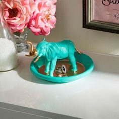 DIY African Elephant Ring Holder organize your vanity or dresser                                                                                                                                                      More