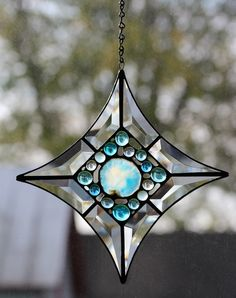 Stained glass agate and nugget bevel cluster by Barbara's Glassworks.