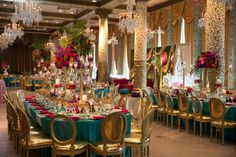 Be inspired by this bold and bright wedding styled shoot inspired by Marrakesh, Morocco, featuring a vibrant turquoise, pink, and gold color palette. Wedding Reception Seating, Reception Decorations, Event Decor, Wedding Dinner, Wedding Receptions, Wedding Table, Wedding Cakes, Wedding Designs, Wedding Styles