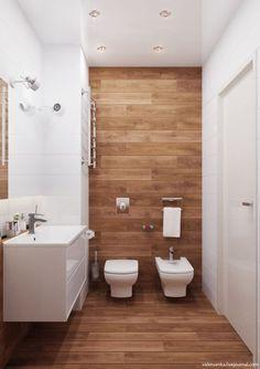20 banheiros decorados com porcelanato que imita madeira: