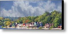 Clouds Over Boathouse Row Canvas Print / Canvas Art By Alice Gipson