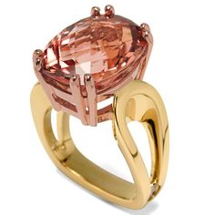 Interlace Collection - 11.36ct Peach Cushion Cut Tourmaline set in 18K Rose and Yellow Gold.. I love everything about this ring.