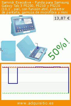"""Samrick Executive - Funda para Samsung Galaxy Tab 3 P5200, P5210 y P5220 (10,1"""", piel, con función atril, protector de pantalla, gamuza de microfibra y mini lápiz capacitivo) azul azul claro P5200, P5210 y P5200 Galaxy Tab 3 (10.1) (Accesorio). Baja 50%! Precio actual 13,87 €, el precio anterior fue de 27,92 €. http://www.adquisitio.es/samrick/executive-funda-samsung-5"""