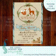 Woodland Preppy Baby Shower Invitation
