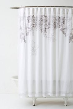 "Recoleta Shower Curtain #anthropologie  Twelve buttonholes  Cotton  Dry clean  72"" square  Imported  Style #: 26409078 $148"