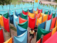 Saw one of these at a RenFest once and thought it would make a great camp activity, especially if built so it could be hcnaged daily -- Ohio playground maze