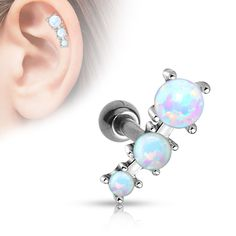 """Triple Opal Tragus/Cartilage Ball 316L Surgical Steel Barbell 16ga Body Jewelry Specifications: 16ga 316L Surgical Steel 1/4""""(1.2mm) Bar length 4mm Ball"""