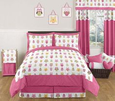 Sweet Jojo Designs 3Piece Pink Happy Owl Childrens and Kids Full / Queen Girls Bedding Set >>> Want to know more, click on the image. #NurseryBedding