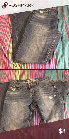 "Dark jeans with distressed accents Mossimo dark blue jeans with a few distressed spots near the pocket, thigh, and hems. Barely worn (too snug for my chub!), great condition, smoke free home. Size is 34"" x 32"". Style is ""slim straight""- neither term describes me! Ha, what a jokester. Anyway. They're solid jeans, make an offer. Mossimo Supply Co Jeans Slim Straight"