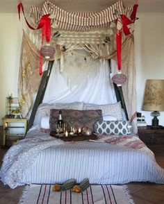 Chic Canopy Beds for DIY Inspiration I love the eclectic coziness of this space. Not all style elements, but I could envision our room like this