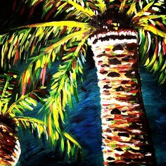 Palm Trees in the Night Painting by BeckysWhimsicalArt on Etsy, $65.00 Work Project, Project Ideas, Hawaiian Art, Tree Paintings, Tropical Decor, Palm Trees, Backsplash, Summer Time, Original Artwork