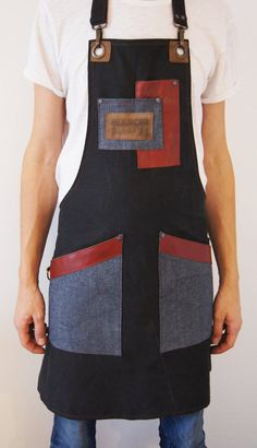 This item is unavailable Barista, Sewing Aprons, Denim Aprons, Apron Pattern Free, Apron Patterns, Dress Patterns, Cafe Apron, Jean Apron, Restaurant Uniforms