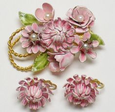 Vintage Signed COROCRAFT Pink Enamel Faux  Pearl FLOWER BROOCH & EARRINGS Coro